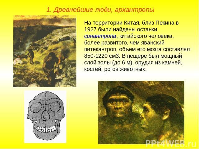 1. Древнейшие люди, архантропы На территории Китая, близ Пекина в 1927 были найдены останки синантропа, китайского человека, более развитого, чем яванский питекантроп, объем его мозга составлял 850-1220 см3. В пещере был мощный слой золы (до 6 м), о…