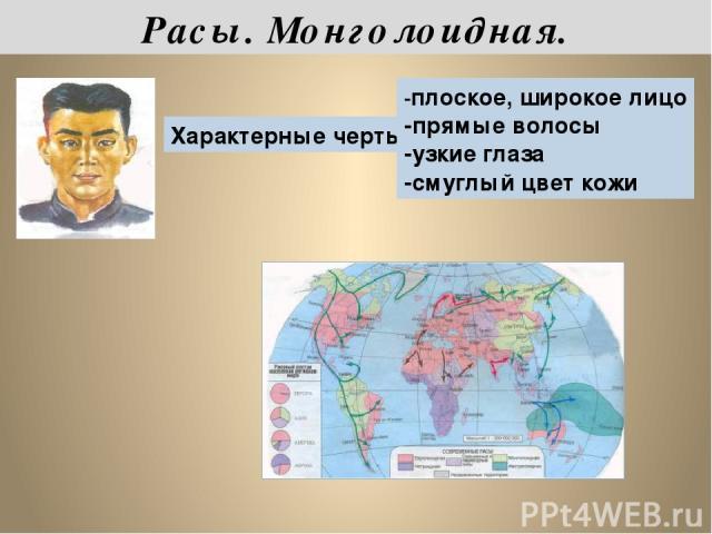 Характерные черты: -плоское, широкое лицо -прямые волосы -узкие глаза -смуглый цвет кожи Расы. Монголоидная.