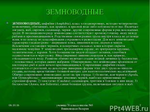 * ученица 7б класса школы №5 Вишневецкая Валерия * ЗЕМНОВОДНЫЕ ЗЕМНОВОДНЫЕ, амфи