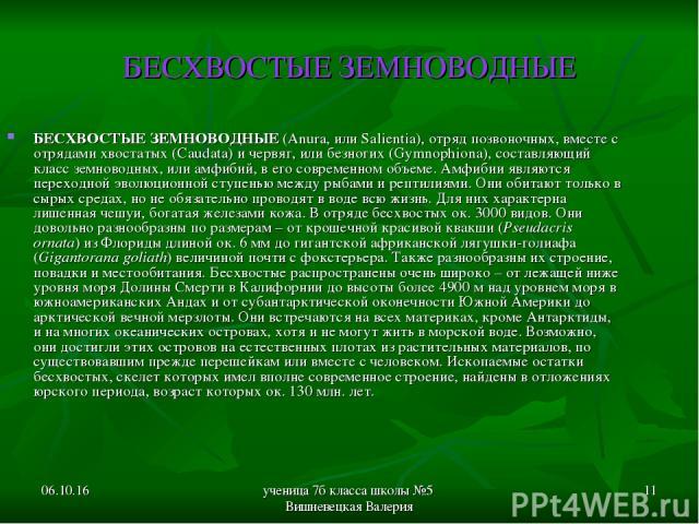 * ученица 7б класса школы №5 Вишневецкая Валерия * БЕСХВОСТЫЕ ЗЕМНОВОДНЫЕ БЕСХВОСТЫЕ ЗЕМНОВОДНЫЕ (Anura, или Salientia), отряд позвоночных, вместе с отрядами хвостатых (Caudata) и червяг, или безногих (Gymnophiona), составляющий класс земноводных, и…