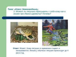 Тема: «Класс Земноводные». 3. Может ли лягушка сбрасывать с себя кожу как в сказ