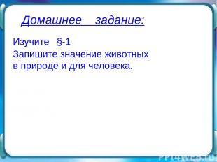 Домашнее задание: Изучите §-1 Запишите значение животных в природе и для человек