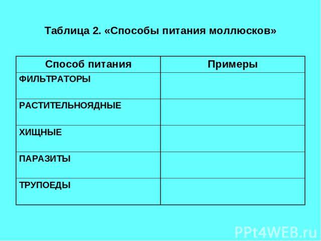 Таблица 2. «Способы питания моллюсков» Способ питания Примеры ФИЛЬТРАТОРЫ РАСТИТЕЛЬНОЯДНЫЕ ХИЩНЫЕ ПАРАЗИТЫ ТРУПОЕДЫ