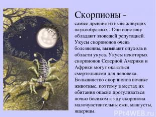 Скорпионы - самые древние из ныне живущих паукообразных . Они воистину обладают