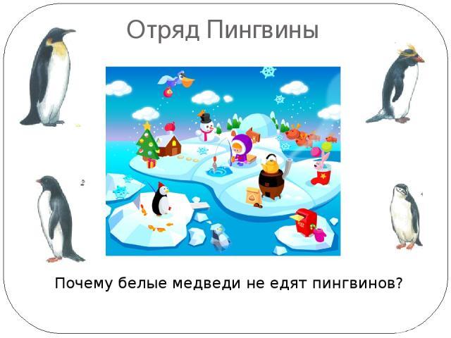 Отряд Пингвины Почему белые медведи не едят пингвинов? Пингвины живут только в южном полушарии, появились 60 млн лет назад. Императорский и Адели – в Антарктиде, остальные: Австралия, Африка, Ю.Америка, Новая Зеландия. Самый большой – императорский …