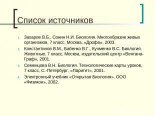 Список источников Захаров В.Б., Сонин Н.И. Биология. Многообразие живых организм