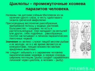Циклопы – промежуточные хозяева паразитов человека. Названы так датским учёным М