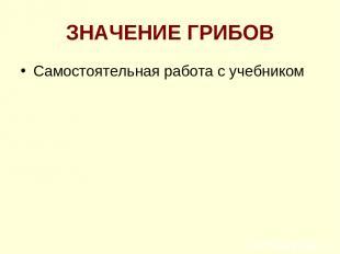 ЗНАЧЕНИЕ ГРИБОВ Самостоятельная работа с учебником