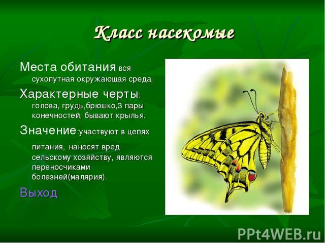 Класс насекомые Места обитания вся сухопутная окружающая среда. Характерные черты: голова, грудь,брюшко,3 пары конечностей, бывают крылья. Значение:участвуют в цепях питания, наносят вред сельскому хозяйству, являются переносчиками болезней(малярия)…