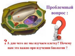 Проблемный вопрос : ?А для чего же мы изучаем клетку? Почему нам это важно при и