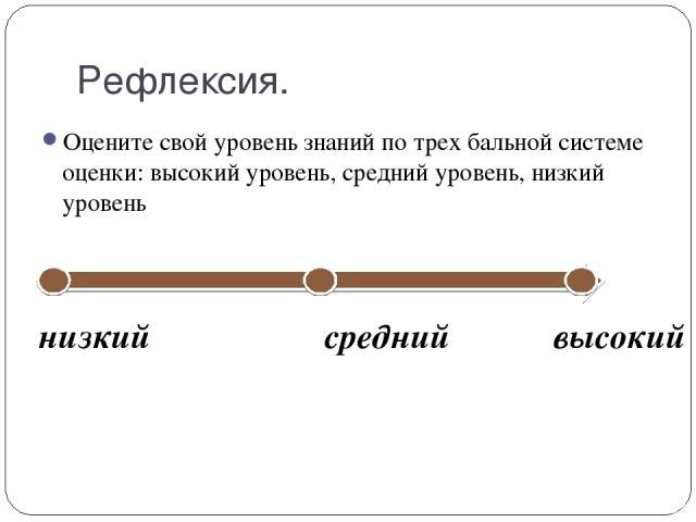 Рефлексия. Оцените свой уровень знаний по трех бальной системе оценки: высокий уровень, средний уровень, низкий уровень низкий средний высокий