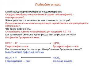 Каков заряд снаружи мембраны и под мембраной? Снаружи мембраны положительный зар