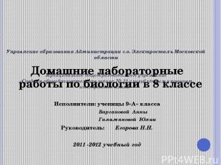Управление образования Администрации г.о. Электросталь Московской области   Му