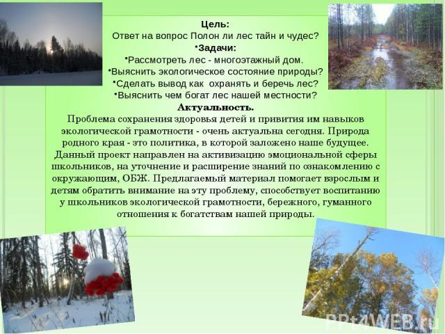 Цель: Ответ на вопрос Полон ли лес тайн и чудес? Задачи: Рассмотреть лес - многоэтажный дом. Выяснить экологическое состояние природы? Сделать вывод как охранять и беречь лес? Выяснить чем богат лес нашей местности? Актуальность. Проблема сохранения…