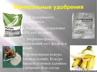 Минеральные удобрения В эксперименте применяются : 1. Карбамид – содержащее 44%