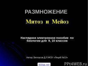 РАЗМНОЖЕНИЕ Митоз и Мейоз Наглядное электронное пособие по биологии для 9, 10 кл