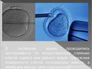 В последнее время проводились эксперименты по искусственному слиянию клеток одно