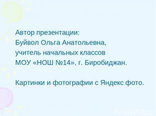 Автор презентации: Буйвол Ольга Анатольевна, учитель начальных классов МОУ «НОШ