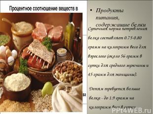 Продукты питания, содержащие белки Суточная норма потребления белка составляет 0