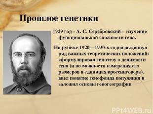 Прошлое генетики 1929 год - А. С. Серебровский - изучение функциональной сложнос