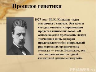 1927 год - Н. К. Кольцов - идея матричного синтеза. Эта идея и сегодня отвечает