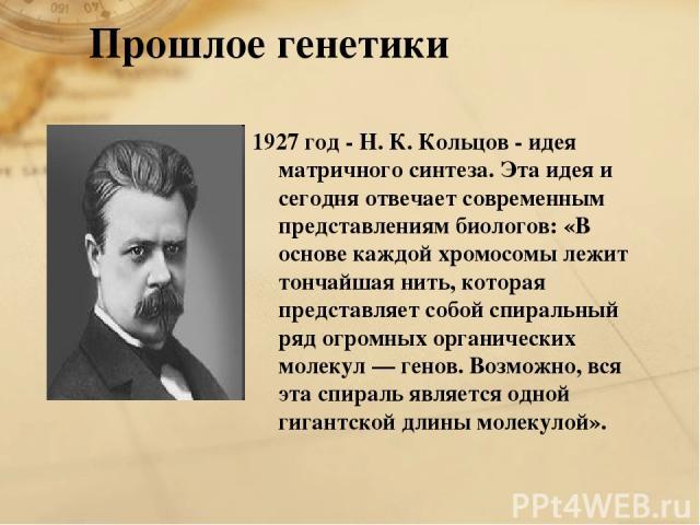 1927 год - Н. К. Кольцов - идея матричного синтеза. Эта идея и сегодня отвечает современным представлениям биологов: «В основе каждой хромосомы лежит тончайшая нить, которая представляет собой спиральный ряд огромных органических молекул — генов. Во…
