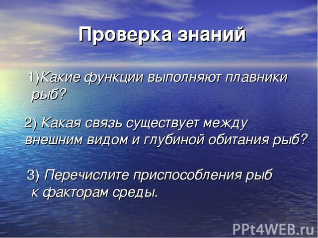 Проверка знаний 1)Какие функции выполняют плавники рыб? 2) Какая связь существует между внешним видом и глубиной обитания рыб? 3) Перечислите приспособления рыб к факторам среды.