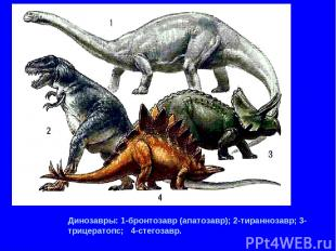Динозавры: 1-бронтозавр (апатозавр); 2-тираннозавр; 3-трицератопс; 4-стегозавр.