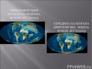 ПРИБЛИЗИТЕЛЬНО НАЧАЛО ПАЛЕОГЕНА, 66 МЛН ЛЕТ НАЗАД СЕРЕДИНА ПАЛЕОГЕНА (ИПРСКИЙ ВЕ