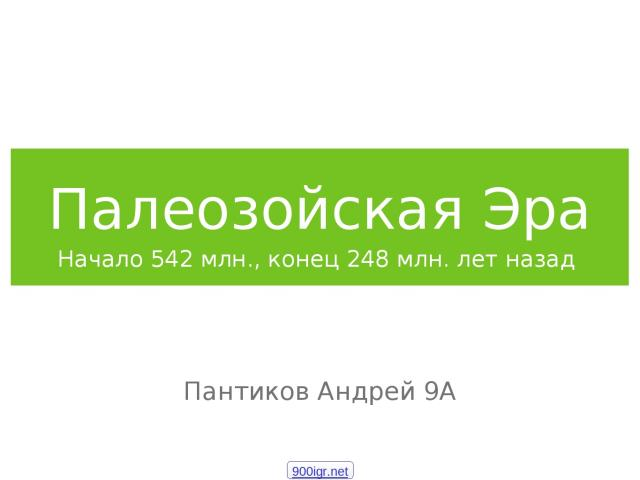 Палеозойская Эра Начало 542 млн., конец 248 млн. лет назад Пантиков Андрей 9А 900igr.net