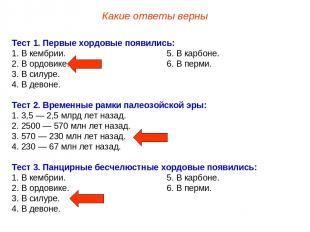 Тест 1. Первые хордовые появились: 1. В кембрии. 5. В карбоне. 2. В ордовике. 6.