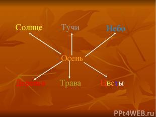 Осень Солнце Тучи Небо Деревья Трава Цветы