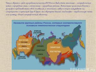 Таким образом, среди природных комплексов в России выделяют зональные – географи