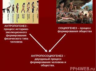 АНТРОПОГЕНЕЗ - процесс историко-эволюционного формирования физического типа чело