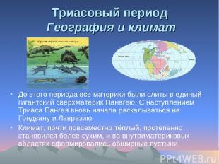 Триасовый период География и климат До этого периода все материки были слиты в