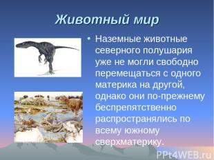 Животный мир Наземные животные северного полушария уже не могли свободно перемещ