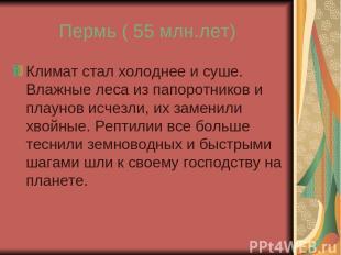 Пермь ( 55 млн.лет) Климат стал холоднее и суше. Влажные леса из папоротников и