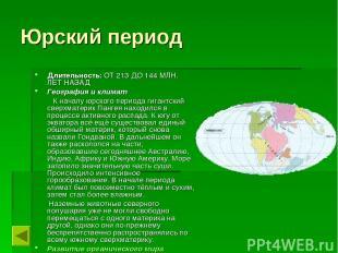Юрский период Длительность: ОТ 213 ДО 144 МЛН. ЛЕТ НАЗАД География и климат К на