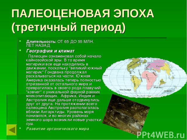 ПАЛЕОЦЕНОВАЯ ЭПОХА (третичный период) Длительность: ОТ 65 ДО 55 МЛН. ЛЕТ НАЗАД География и климат  Палеоцен ознаменовал собой начало кайнозойской эры. В то время материки все еще находились в движении, поскольку