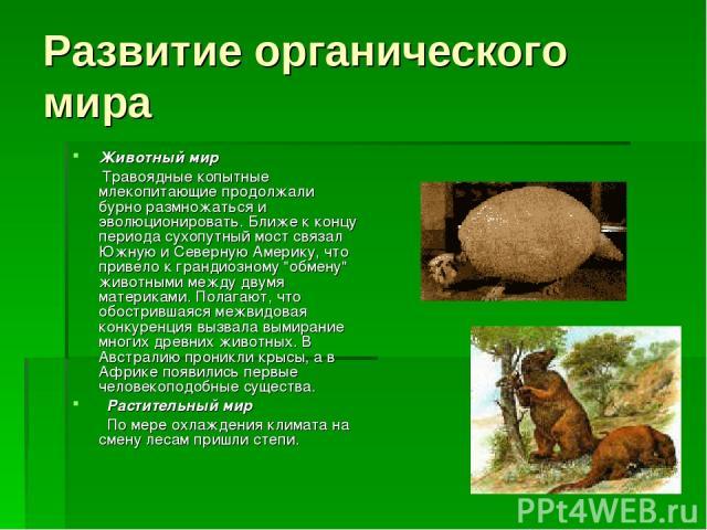 Развитие органического мира Животный мир Травоядные копытные млекопитающие продолжали бурно размножаться и эволюционировать. Ближе к концу периода сухопутный мост связал Южную и Северную Америку, что привело к грандиозному