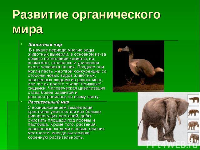 Развитие органического мира Животный мир В начале периода многие виды животных вымерли, в основном из-за общего потепления климата, но, возможно, сказалось и усиленная охота человека на них. Позднее они могли пасть жертвой конкуренции со стороны нов…