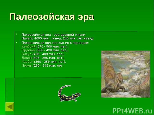Палеозойская эра Палеозойская эра - эра древней жизни Начало 4600 млн., конец: 248 млн. лет назад Палеозойская эра состоит из 6 периодов: Кембрий (570 - 500 млн. лет), Ордовик (500 - 438 млн. лет), Силур (438 - 408 млн. лет), Девон (408 - 360 млн. …
