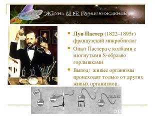 Луи Пастер (1822–1895г) французский микробиолог Опыт Пастера с колбами с изогнут