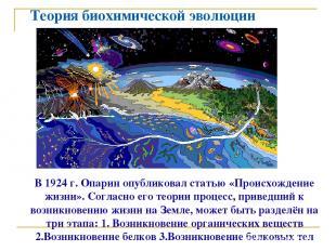 Теория биохимической эволюции В 1924 г. Опарин опубликовал статью «Происхождение