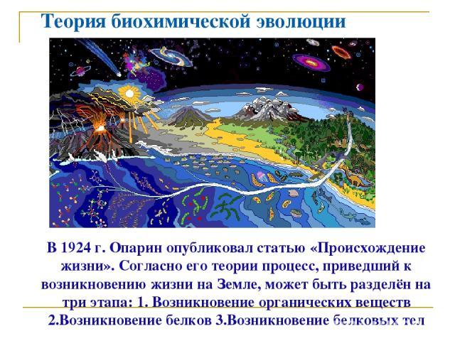 Теория биохимической эволюции В 1924 г. Опарин опубликовал статью «Происхождение жизни». Согласно его теории процесс, приведший к возникновению жизни на Земле, может быть разделён на три этапа: 1. Возникновение органических веществ 2.Возникновение б…