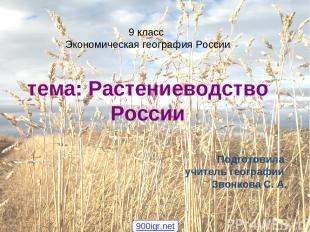 9 класс Экономическая география России тема: Растениеводство России Подготовила