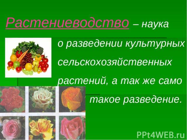 Растениеводство – наука о разведении культурных сельскохозяйственных растений, а так же само такое разведение.