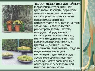 ВЫБОР МЕСТА ДЛЯ КОНТЕЙНЕРА В сравнении с традиционными цветниками, газонами, дор