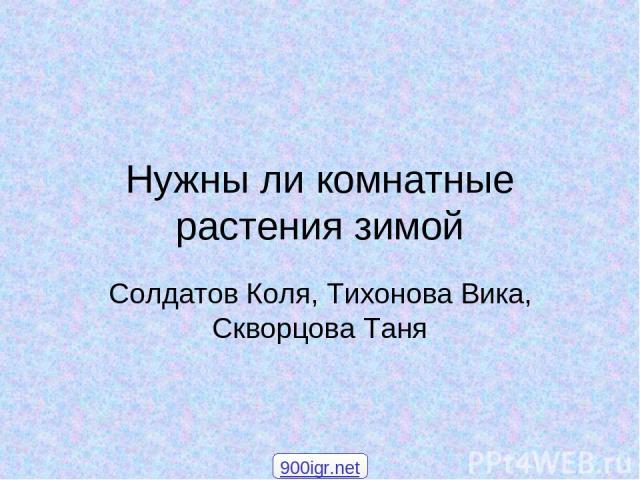 Нужны ли комнатные растения зимой Солдатов Коля, Тихонова Вика, Скворцова Таня 900igr.net
