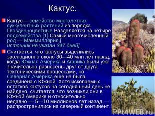 Кактус. Кактус— семейство многолетних суккулентных растений из порядка Гвоздично